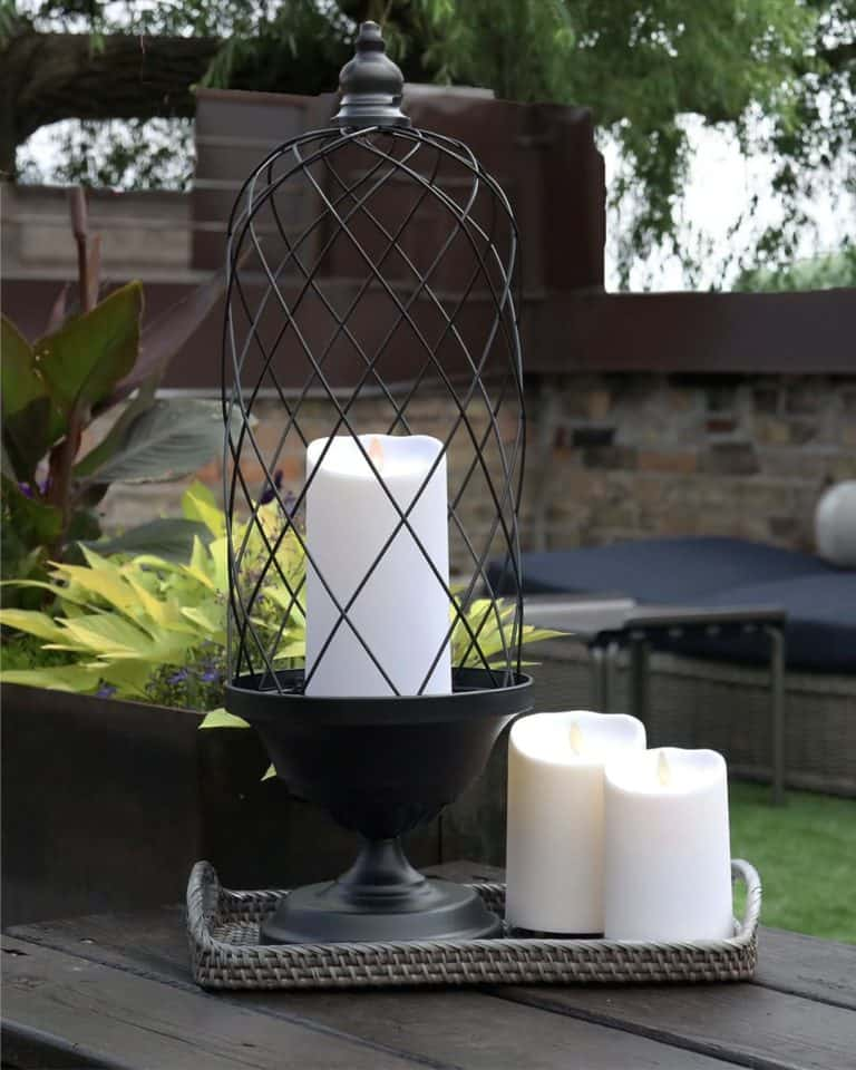 Awesome decorating ideas using flameless candles for your living room, bedroom, dining room, front porch & home.  Impress your house guests with these creative, romantic & fun DIY LED candle centerpieces, lanterns, tablescapes & decorations styled with designer secrets in mind.
