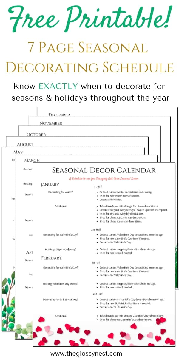 When To Decorate For Each Season Printable Holiday